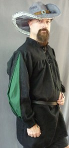 black linen with green insert men's shirt