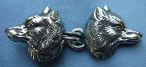 Wolf Heads<br>Side w/ Hook & Eye - Silvertone