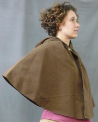 "Cloak:1457, Cloak Style:Half Circle, Cloak Color:Chocolate brown, Fiber / Weave:cotton lycra, Cloak Clasp:Alpine Knot - Goldtone, Hood Lining:self lining, Back Length:23"", Neck Length:19"", Seasons:Summer, Fall, Spring."