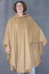 Cloak:1520, Cloak Style:Cape / Ruana, Cloak Color:Camel, Fiber / Weave:100% Wool Melton, Cloak Clasp:Vale - Goldtone, Hood Lining:Burgundy Moleskin, Back Length:44.5&quot;, Neck Length:20&quot;, Seasons:Winter, Fall, Spring, Note:This tan ruana is made of 100% Wool Melton, a coat-weight fabric.<br>It features a full-sized hood lined with Burgundy Moleskin,<br>and is finished with a gold-tone hook-and-eye clasp.<br>Great for Winter, Spring and Fall,<br>the smaller neck size makes it  a good fit for someone on the smaller side.<br>Now on sale - almost half price!<br>A cross between a cape and a cloak, a ruana is a great way to keep warm when<br>frequent, unhindered use of your arms is needed.<br>Ruanas make great driving cloaks!.