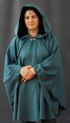 "Cloak:1596, Cloak Style:Cape / Ruana, Cloak Color:Sage Green, Fiber / Weave:100% Wool Gabardine, Cloak Clasp:Pineapple, Hood Lining:Black Crushed Velvet, Back Length:35"", Neck Length:21"", Seasons:Summer, Fall, Spring."