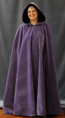 "Cloak:1606, Cloak Style:Full Circle Cloak, Cloak Color:Lavender Purple, Fiber / Weave:Cotton Velvet, Cloak Clasp:Tree of Life, Hood Lining:DK Plum Panne Velour, Back Length:55"", Neck Length:21"", Seasons:Spring, Fall, Winter."