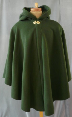 "Cloak:1692, Cloak Style:Cape / Ruana, Cloak Color:Loden Green, Fiber / Weave:300 Wt Fleece, Cloak Clasp:Vale - Goldtone, Hood Lining:Self-lining, Back Length:39"", Neck Length:20.5"", Seasons:Spring, Fall, Winter."