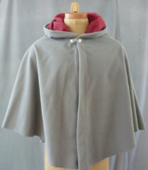 "Cloak:1700, Cloak Style:Full Circle Cloak, Cloak Color:Grey, Fiber / Weave:Windblock Polar Fleece, Cloak Clasp:Dragon Knot, Hood Lining:Self-lining, Brick, Back Length:30"", Neck Length:21.5"", Seasons:Spring, Fall, Winter."