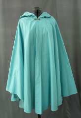 "Cloak:1717, Cloak Style:Cape / Ruana, Cloak Color:Sky Blue, Fiber / Weave:Coated Cotton Poplin, Cloak Clasp:Alpine Knot - Silvertone, Hood Lining:Self-lining, Back Length:38"", Neck Length:21.5"", Seasons:Summer, Fall, Spring."