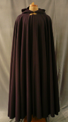 "Cloak:1731, Cloak Style:Full Circle Cloak, Cloak Color:Dark Wine, Fiber / Weave:Plush Wool Coating, Cloak Clasp:Acanthus - Bronze, Hood Lining:Dark Red Cotton Velveteen, Back Length:58"", Neck Length:22"", Seasons:Winter, Fall, Spring."