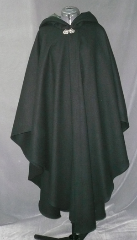 "Cloak:1741, Cloak Style:Cape / Ruana, Cloak Color:Black, Fiber / Weave:Corded Wool - vert stripe, Cloak Clasp:Vale, Hood Lining:Loden Green Cotton Velvet, Back Length:49"", Neck Length:22"", Seasons:Winter, Fall, Spring."