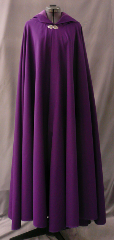 "Cloak:1750, Cloak Style:Full Circle Cloak, Cloak Color:Grape, Fiber / Weave:Fine Wool Gabardine, Cloak Clasp:Vale, Hood Lining:Dark Violet Poly Moleskin, Back Length:54"", Neck Length:21.5"", Seasons:Summer, Fall, Spring."