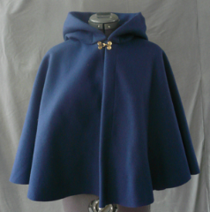 "Cloak:1790, Cloak Style:Full Circle Cloak, Cloak Color:Navy Blue, Fiber / Weave:100% Wool, Cloak Clasp:Double Spiral, Hood Lining:Navy Moleskin, Back Length:23.5"", Neck Length:19.5"", Seasons:Winter, Fall, Spring."