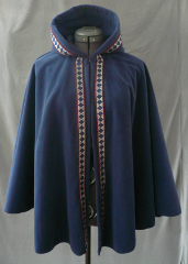"Cloak:1793, Cloak Style:Full Circle Cloak, Cloak Color:Navy Blue w/ Trim, Fiber / Weave:WindPro Fleece, Cloak Clasp:Blue Button and loop, Hood Lining:Self-lining, Back Length:26"", Neck Length:17.5"", Seasons:Winter, Fall, Spring."