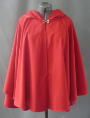 "Cloak:1819, Cloak Style:Full Circle Short Cloak, Cloak Color:Red, Fiber / Weave:Rayon Polyester, Cloak Clasp:Double Spiral, Hood Lining:Self-lining, Back Length:29.5"", Neck Length:22"", Seasons:Summer, Fall, Spring."