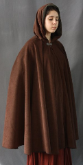"Cloak:1840, Cloak Style:Full Circle Cloak, Cloak Color:Chocolate brown, Fiber / Weave:Polyester Moleskin, Cloak Clasp:Antiquity, Hood Lining:Olive Moleskin, Back Length:39"", Neck Length:19"", Seasons:Summer, Fall, Spring."