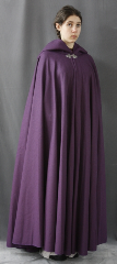"Cloak:1842, Cloak Style:Full Circle Cloak, Cloak Color:Plum Purple, Fiber / Weave:Wool Melton, Cloak Clasp:Triple Medallion, Hood Lining:Plum Purple Cotton Velvet, Back Length:58"", Neck Length:22.5"", Seasons:Winter, Fall, Spring."