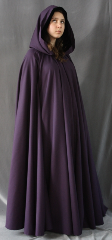 "Cloak:1856, Cloak Style:Full Circle Cloak, Cloak Color:Dusty Grape, Fiber / Weave:100% Wool w/ fine herringbone pattern, Cloak Clasp:Antiquity, Hood Lining:Black Silk Velvet, Back Length:54"", Neck Length:24"", Seasons:Spring, Fall, Winter."