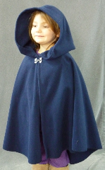 "Cloak:1908, Cloak Style:Full Circle Short Cloak, Cloak Color:Navy Blue, Fiber / Weave:Windblock Polar fleece, Cloak Clasp:Double Spiral, Hood Lining:Self-lining, Back Length:26"", Neck Length:19"", Seasons:Winter, Fall, Spring."