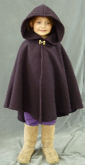 Cloak:1917, Cloak Style:Cape / Ruana, Cloak Color:Wine, Fiber / Weave:Plush Wool Coating, Cloak Clasp:Double Spiral, Hood Lining:Self-lining, Back Length:27&quot;, Neck Length:17&quot;, Seasons:Winter, Fall, Spring, Note:This reddish purple wool cloak is very plush and warm! <br>The small neck size is perfect for the young ones. <br>Finished with a cute Double Spiral <br>hook-and-eye clasp in goldtone..