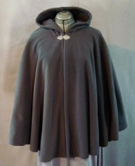 "Cloak:1925, Cloak Style:Cape / Ruana, Cloak Color:Dark Storm Grey, Fiber / Weave:WindPro Fleece, Cloak Clasp:Tree of Life, Hood Lining:Self-lining, Back Length:31"", Neck Length:19"", Seasons:Winter, Fall, Spring."