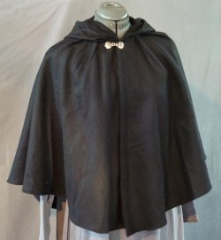 "Cloak:1933, Cloak Style:3/4 circle, Cloak Color:Black, Fiber / Weave:Wool / cashmere, Cloak Clasp:Dragon Knot, Hood Lining:Unlined, Back Length:25.5"", Neck Length:17"", Seasons:Winter, Fall, Spring."