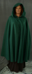 Cloak:2186, Cloak Style:Full Circle Cloak, Cloak Color:Spruce Green, Fiber / Weave:Polyester Fleece, Cloak Clasp:Plain Rope<br>Hook & Eye, Hood Lining:Self-lining, Back Length:46&quot;, Neck Length:22.5&quot;, Seasons:Fall, Spring, Note:This hunter green cloak goes back to the basics.<br>It&#039;s a full circle  cloak, made from a very soft,<br>light weight, washable polyester fleece.<br>Finished with a simple pewter<br>Plain Rope style hook and eye clasp..