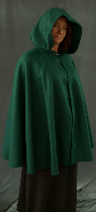 "Cloak:1968, Cloak Style:Full Circle Cloak, Cloak Color:Spruce Green, Fiber / Weave:Polyester Fleece, Cloak Clasp:Dragon Knot, Hood Lining:Unlined, Back Length:36"", Neck Length:22"", Seasons:Fall, Spring."