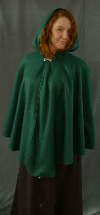 Cloak:2185, Cloak Style:Full Circle Cloak, Cloak Color:Spruce Green, Fiber / Weave:Polyester Economy Fleece, Cloak Clasp:Plain Rope<br>Hook & Eye, Hood Lining:Self-lining, Back Length:33&quot;, Neck Length:25.5&quot;, Seasons:Fall, Spring, Note:This cloak goes back to the basics.<br>It&#039;s a ruana, made from a very soft,<br>light weight, washable polyester fleece.<br>Finished with a simple pewter<br>Plain Rope style hook and eye clasp..