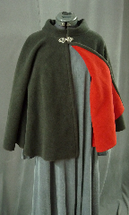Cloak:1989, Cloak Style:Full Circle Cloak with Collar, Cloak Color:Black outside Red inside, Fiber / Weave:Windblock Polar Fleece 2 toned, Cloak Clasp:Tree of Life, Hood Lining:None, Back Length:27&quot;, Neck Length:22&quot;, Seasons:Winter, Fall, Spring, Note:This short full circle cloak looks lined,<br>but it&#039;s actually made from double-sided dark grey<br>Windbloc Polar Fleece with a red reverse side.<br>Great for the drama without the layers!<br>Windbloc is  wind-proof, and has a water-resistant finish.<br>This cloak features a collar instead of a hood<br>with a lovely pewter Tree of Life hook-and-eye clasp..