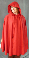 "Cloak:1994, Cloak Style:Full Circle Cloak, Cloak Color:Red, Fiber / Weave:Polyester / Rayon, Cloak Clasp:Heritage, Hood Lining:Unlined, Back Length:40"", Neck Length:21"", Seasons:Summer."