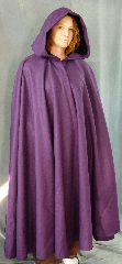 "Cloak:1996, Cloak Style:Full Circle Cloak, Cloak Color:Purple, Fiber / Weave:Wool, Cloak Clasp:Nordic Hearts - Silvertone, Hood Lining:Black Silk Velvet, Back Length:52.5"", Neck Length:21"", Seasons:Spring, Fall."