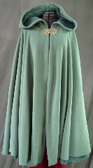 Cloak:2011, Cloak Style:Full Circle Cloak, Cloak Color:Seafoam Green, Fiber / Weave:WindPro Polar Fleece, Cloak Clasp:Rondelle - Pewter, Hood Lining:Self-lining, Back Length:42&quot;, Neck Length:21&quot;, Seasons:Winter, Fall, Spring, Note:The extravagant look and comfort of a full cloak lining<br> without the worry of uneven stretching,<br> plus extraordinary wind resistance!<br> This gorgeous seafoam green full circle cloak appears<br> to be fully lined with seafoam green fur, <br>but actually it is just one fabric!<br> In fact, it&#039;s WindPro Polar Fleece, which is 60-70% wind resistant! <br>This cloak features a full hood and closes with<br> a pewter Rondelle hook-and-eye clasp..