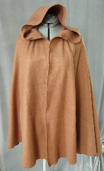 "Cloak:2030, Cloak Style:Half Circle, Cloak Color:Lt Coffee Brown, Fiber / Weave:Polyester Fleece, Cloak Clasp:Alpine Knot - Goldtone, Hood Lining:Unlined, Back Length:37.5"", Neck Length:18.5"", Seasons:Spring, Fall."