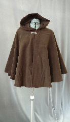 "Cloak:2034, Cloak Style:Full Circle Short Cloak, Cloak Color:Dark Brown, Fiber / Weave:Poly Moleskin, Cloak Clasp:Antiquity, Hood Lining:Unlined, Back Length:27"", Neck Length:22"", Seasons:Spring, Fall, Summer."
