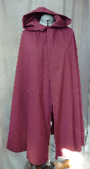 Cloak:2038, Cloak Style:Fuller Half circle, Cloak Color:Burgundy, Fiber / Weave:Cotton Twill with Lycra, Cloak Clasp:Celtic Knotwork - Bronzetone, Hood Lining:Unlined, Back Length:41&quot;, Neck Length:19.5&quot;, Seasons:Summer, Spring, Fall, Note:This light weight cotton cloak would be a great finish to a Renaissance<br>fair costume for a smaller person.<br>Easy care machine washable cotton and<br>lightweight enough for indoor wear.<br>Perfect for Summer, Late Spring, Early Fall outerwear.<br>Finished with a light duty celtic knotwork hook-and-eye clasp..
