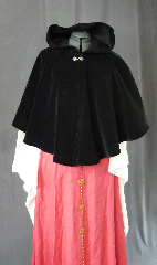 "Cloak:2043, Cloak Style:Full Circle Short Cloak, Cloak Color:Black, Fiber / Weave:Cotton Velvet, washed, Cloak Clasp:Fleur de Lis, Hood Lining:Unlined, Back Length:22"", Neck Length:18.5"", Seasons:Winter, Fall, Spring."