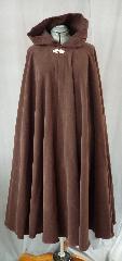 Cloak:2047, Cloak Style:Full Circle Cloak, Cloak Color:Brown, Fiber / Weave:Moleskin Cotton, Cloak Clasp:Florentine - Small, Hood Lining:Unlined, Back Length:48&quot;, Neck Length:21&quot;, Seasons:Summer, Fall, Spring, Note:This full circle cloak was created from a thick rich washed cotton moleskin.<br>The fabric is similar to a brushed denim and provides significant warmth and wind resistance.<br> An intricate pewter Florentine clasp provides the finishing touch.<br> Machine wash low, gentle, tumble dry low..