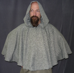 "Cloak:2056, Cloak Style:Full Circle Short Cloak, Cloak Color:Heathered Grey Tweed Look, Herringbone Pattern, Fiber / Weave:Polyester, Cloak Clasp:Antiquity, Hood Lining:Unlined, Back Length:26"", Neck Length:19"", Seasons:Spring, Fall, Summer."