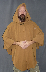 Cloak:2058, Cloak Style:Cape / Ruana, Cloak Color:Warm Camel, Fiber / Weave:Washed Wool, Cloak Clasp:Bavarian - Bronzetone, Hood Lining:Unlined, Back Length:36&quot;, Neck Length:19.5&quot;, Seasons:Fall, Spring, Note:A cross between a cape and a cloak, a ruana is a great way <br>to keep warm while frequent, unhindered use of your arms <br>is needed. Ruanas make great driving cloaks!.