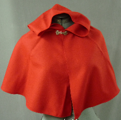 Cloak:2067, Cloak Style:Fuller Half Circle Child&#039;s, Cloak Color:Red, Fiber / Weave:Wool Gabardine, Cloak Clasp:Alpine Knot - Silvertone, Hood Lining:Unlined, Back Length:17.25&quot;, Neck Length:17&quot;, Seasons:Spring, Fall, Summer, Note:This toddler-size cloak is perfect for a 2 to 3 year old Little Red Riding Hood.<br> The red wool gabardine is smooth and suit-weight <br> and can be hand-washed and line dried..