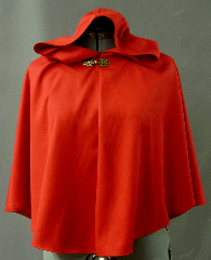 Cloak:2068, Cloak Style:Half Circle, Cloak Color:Red, Fiber / Weave:Rayon Polyester, Cloak Clasp:Antiquity, Hood Lining:Unlined, Back Length:24&quot;, Neck Length:21.5&quot;, Seasons:Spring, Fall, Summer, Note:This child-size cloak is perfect for a 3 to 6 year old Little Red Riding Hood.<br> The red rayon polyester is smooth and suit-weight <br> and can be machine-washed and dried..