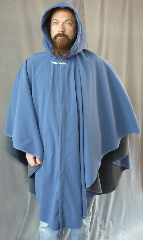 Cloak:2080, Cloak Style:Cape / Ruana, Cloak Color:French Blue / Grey 2 toned, Fiber / Weave:Windblock Polar Fleece, Cloak Clasp:Willow Leaf - Silver, Hood Lining:Self-lining, Back Length:44&quot;, Neck Length:19.5&quot;, Seasons:Winter, Fall, Spring, Note:A cross between a cape and a cloak, a ruana is a great way <br>to keep warm while frequent, unhindered use of your arms <br>is needed. Ruanas make great driving cloaks!<br>This one is made from windblock polar fleece<br> which is both wind proof and water resistant.<br>  Machine washable on gentle and tumble dry low inside out..