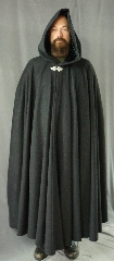"Cloak:2083, Cloak Style:Full Circle Cloak, Cloak Color:Charcoal, Fiber / Weave:Midweight Wool Cashmere, Cloak Clasp:Triple Medallion, Hood Lining:Green Almost Black Velvet, Back Length:57"", Neck Length:21"", Seasons:Spring, Fall, Winter."