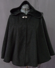 "Cloak:2098, Cloak Style:Full Circle Short Cloak, Cloak Color:Black, Fiber / Weave:Fleece, Cloak Clasp:Fleur de Lis, Hood Lining:Self-lining, Back Length:30"", Neck Length:21.5"", Seasons:Fall, Spring."