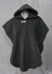 Cloak:2099, Cloak Style:Cape / Ruana, Cloak Color:Black, Fiber / Weave:Windblock Polar Fleece, Cloak Clasp:Plain Rope<br>Hook & Eye, Hood Lining:Self-lining, Back Length:27&quot;, Neck Length:22&quot;, Seasons:Winter, Fall, Spring, Note:Throw it on and go!<br>This sideless Ruana  style cape gives you extra mobility,<br>while the Windblock Polar Fleece will keep you extra warm and dry.<br>Finished with a silvertone Plain Rope style hook and eye clasp.<br>Machine washable cold gentle, tumble dry low..
