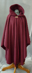 Cloak:2141, Cloak Style:Cape / Ruana, Cloak Color:Cranberry, Fiber / Weave:200 Wt Polar Fleece, Cloak Clasp:Vale - Goldtone, Hood Lining:Self-lining, Back Length:47.5&quot;, Neck Length:21&quot;, Seasons:Winter, Fall, Spring, Note:Lightweight and easy care, in a rich cranberry,<br>this full circle cloak is a great piece of spring outerwear.<br>Made  with some water resistance, this unlined cloak<br>makes a great accessory for everyday wear,<br>LARP or Renaissance Fair.<br>The cloak is machine washable, so throw it on<br>whenever you need some extra warmth..