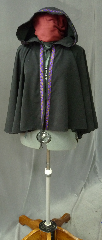 Cloak:2145, Cloak Style:Full Circle Short Cloak with trim, Cloak Color:Black with Celtic Knot Purple/Amber on Black Trim, Fiber / Weave:Sueded Polyester, water resistant, Hood Lining:Unlined, Back Length:23&quot;, Neck Length:21&quot;, Seasons:Summer, Note:Lightweight and decorative, with some water resistance,<br>this unlined cloak makes a great accessory for LARP or Renaissance Fair.<br>The cloak is machine washable and easy care,<br>but avoid exposure to velcro as it could snag the trim..