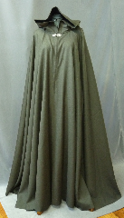 Cloak:2168, Cloak Style:Full Circle Cloak, Cloak Color:Heathered Olive Green Brown, Fiber / Weave:Wool Gabardine, Cloak Clasp:Bavarian - Silvertone, Hood Lining:Black Cotton Velveteen, Back Length:57&quot;, Neck Length:25&quot;, Seasons:Fall, Spring, Note:This midweight cloak goes back to the basics.<br>It&#039;s a full circle cloak, made from a soft<br>wool gabardine in a dark heathered green - brown shade.<br>Dry Clean.