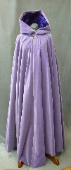 Cloak:2171, Cloak Style:Full Circle Cloak, Cloak Color:Lilac, Fiber / Weave:Cotton Velvet, Cloak Clasp:Ivy, Curly - Single hook - Silvertone, Hood Lining:Royal Purple Polyester Crushed Velvet, Back Length:58&quot;, Neck Length:22&quot;, Seasons:Fall, Spring, Winter, Note:This full circle cloak is luxurious and eye-catching!<br>The heavy pale purple cotton velvet<br>has a gorgeous sheen to it in direct light,<br>which the royal dark purple crushed velvet hood lining<br>both compliments and contrasts!<br>Finished with a handmade silver-tone curly ivy clasp..