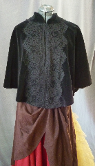 "Cloak:2180, Cloak Style:Victorian Mantle, Cloak Color:Black with black lace, Fiber / Weave:Cotton Velvet, Washable, Cloak Clasp:Hook & Eye, Hood Lining:N/A, Back Length:25"", Neck Length:21"", Seasons:Fall, Spring."