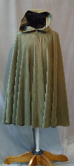 Cloak:2192, Cloak Style:Full Circle Cloak, Cloak Color:Moss Green, Fiber / Weave:Moleskin, Cloak Clasp:Antiquity, Hood Lining:Self-lining, Back Length:37&quot;, Neck Length:21&quot;, Seasons:Spring, Fall, Note:Easy care polyester moleskin makes this cloak an<br>easy choice and elegant choice for a little extra<br>warmth on a spring evening. Great for<br>a day at the Renaissance Fair or a weekend LARP.<br>Machine washable cold gentle, tumble dry low.<br>Throw it on and go!.