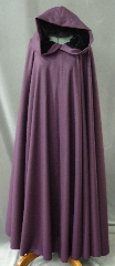 "Cloak:2218, Cloak Style:Full Circle Cloak, Cloak Color:Plum Purple, Fiber / Weave:100% Wool Flannel, Cloak Clasp:Vale, Hood Lining:Black Silk Velvet, Back Length:58"", Neck Length:23.5"", Seasons:Spring, Fall, Summer."