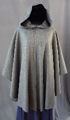 "Cloak:2243, Cloak Style:Cape / Ruana, Cloak Color:Grey, Fiber / Weave:Wool / Lyrca blend, Cloak Clasp:Antiquity, Hood Lining:Unlined, Back Length:37"", Neck Length:22"", Seasons:Spring, Fall, Summer."
